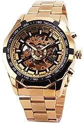 BEST SELLING RUSSIAN SKELETON Luxury Men's Automatic Mechancial Wrist Watch Golden Strap Black Dial