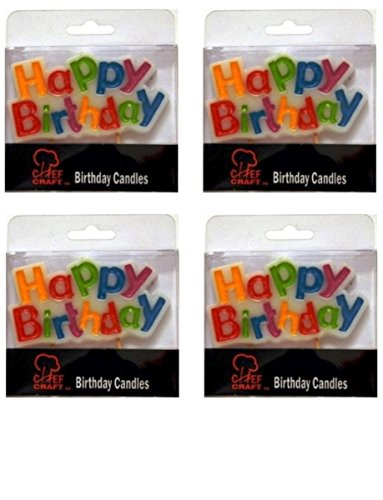Happy Birthday Cake Topper Candle, 4 Packs - 1