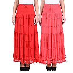 NumBrave Red & Pink Long Flared skirt Combo