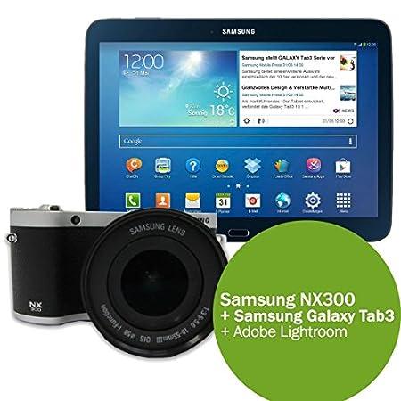 Samsung Appareil photo numérique NX300 - Inclut un objectif 18-55mm et la tablette Galaxy Tab 3 10.1 - Noir