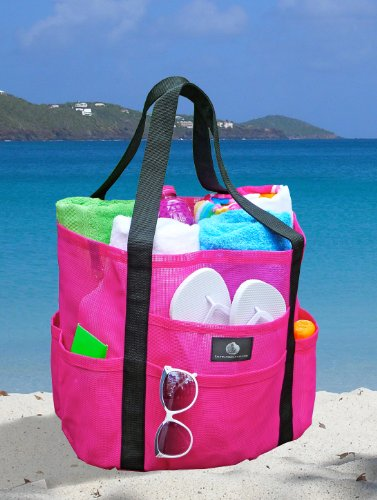 Caribbean Pink Mesh Beach Tote &#8211; Family Size Whale Bag