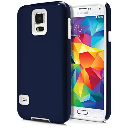 Galaxy S5 Case, MagicMobile® Hybrid Impact Rugged Shockproof Layer Hard Armor Shell And Soft Silicone Skin Cover [ Dark Blue - White ] Free Screen Protector and Stylus