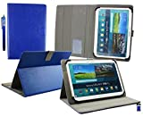 Emartbuy Wolder miTab Pro + 10.1 Inch HD Tablet PC Universal Range ( 10 - 11 Inch ) Blue Multi Angle Executive Folio Wallet Case Cover With Card Slots + Stylus