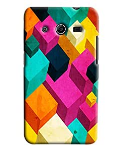 Blue Throat Cubical Abstract Printed Designer Back Cover/Case For Samsung Galaxy Core 2