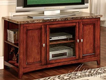 Finely collection cherry finish wood with faux brown marble top TV stand entertainment center with glass front center cabinet