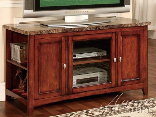 Acme 91000 Finely Faux Marble Top TV Stand, Cherry Finish (48 Inc Tv compare prices)