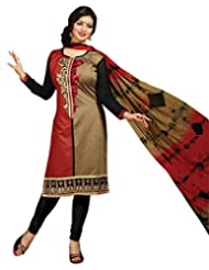 Surat Tex Red Color Casual Wear Embroidered Chanderi Semi-Stitched Salwar Suit