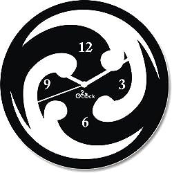 2 O Clock Black Round Designer Wall Decorative Clock