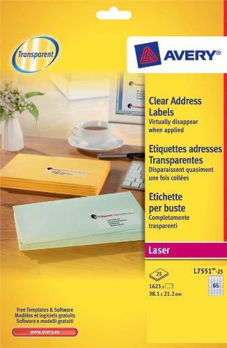 Avery Réf L7551-25 1625 étiquettes adresses Laser Transparent 38,1 x 21,2 mm (65 par feuille)