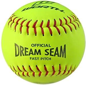 Worth 11 ASA NFHS Fastpitch Dream Seam Softballs YELLOW - RED STITCH ONE DOZEN - 11... by Worth Sports