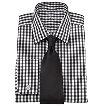 Savile row mens black white gingham check classic fit for Black and white check mens shirt