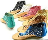 Women T Strap Rhinestone get together utilize Gladiator Roman Flat Sandals Shoes