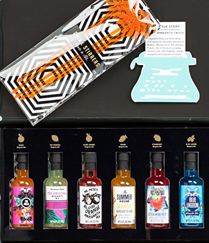 Margarita Mix Gift Box Sampler Kit, Set of Six, 2.3 oz Flavored Drink Mixes Blood Orange, Blue Lagoon, Strawberry, Mango & Peach by Thoughtfully Gifts Great Idea for Tequila or Margarita Drinkers