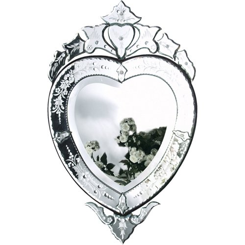 Venetian Style Small Floral Etched Heart Shaped Mirror