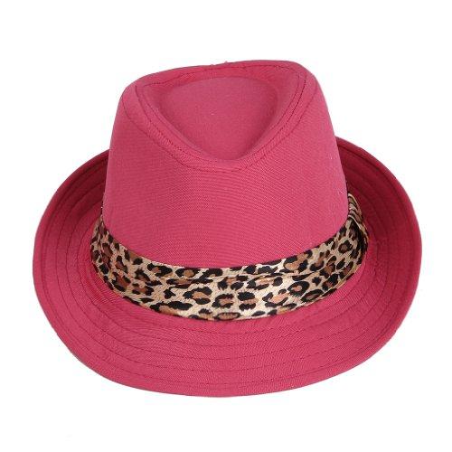 [Smile YKK Girls' Leopard Fedora Trilby Panama Cowboy Sun Hat Jazz Red] (Leopard Cowboy Hat)