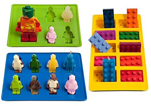 Ice Cube Trays and Candy Molds - Lego Building Bricks and Figures (Yellow&Green&Blue)