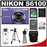 Nikon Coolpix S6100 16.0 MP Digital Camera (Violet) with 16GB Card + Battery + Case + Tripod + Accessory Kit