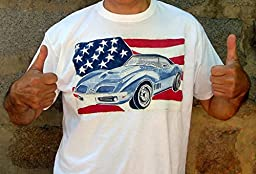 USA Classic Chevrolet Corvette 1968 American Flag T-shirt Mens Car T-shirt Original Painting T-shirt Car Racing Auto Decor Limited Edition Personalise Car Art T-shirt XL 61.0 х 77.0 sm.