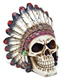 Tribal Chieftain Mohawk Indian Warrior Skull with Roach Skeleton Figurine Statue