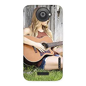 Impressive Guitar Girl Multicolor Back Case Cover for HTC One X