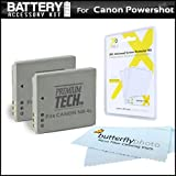 2 Pack Battery Kit For Canon PowerShot ELPH 330 HS, ELPH 310 HS ELPH 300 HS ELPH 100 HS Digital Camera and Canon VIXIA Mini Compact Personal Camcorder Includes 2 Extended (900 Mah) Replacement Batteries For Canon NB-4L + LCD Screen Protectors + More
