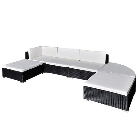 vidaXL Conjunto modular para el jardín de poli ratán negro, 16 piezas