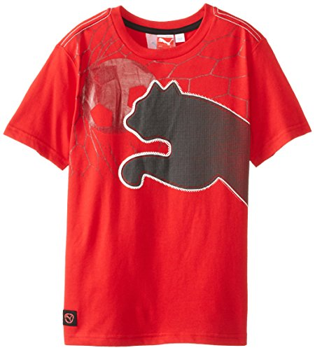 Puma Big Boys' Short Sleeve Graphic T-Shirt, Red, Large front-1039783
