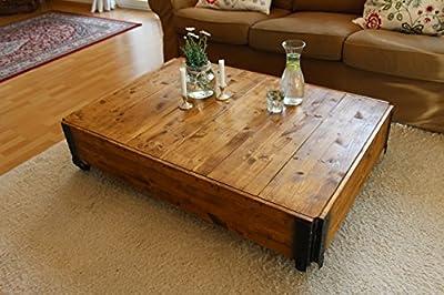 Couchtisch Truhe Holzkiste Beistelltisch Vintage shabby chic Landhaus Massivholz nussbaum