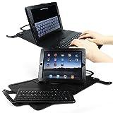 iGadget ® IG1235 iPad 3 Funda de cuero con teclado desmontable Bluetooth - NEGRO