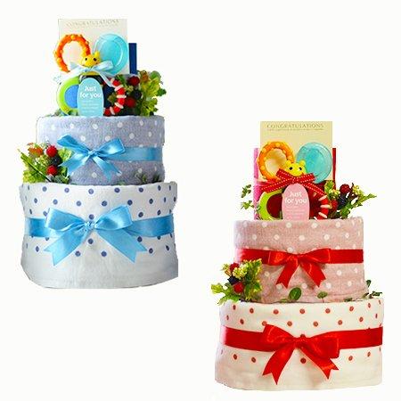 Sassy(サッシー)のハチさんの歯固めの&タオル2点付「パンパース使用2段おむつケーキ」!実用的な出産祝いとしてオムツケーキが人気急上昇☆ (おむつのサイズ:S (生後2~7カ月), ブルー)