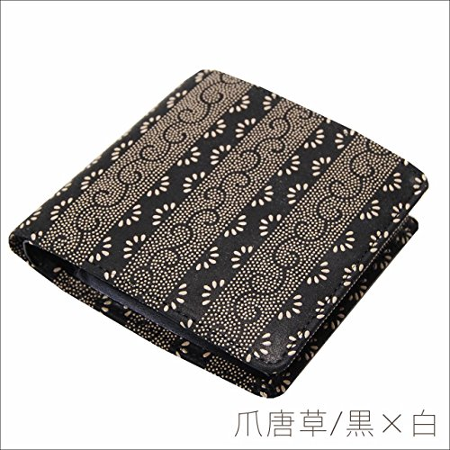印傳屋 印伝 2008 メンズ 和柄 本革 二つ折財布です。日本製 男性用 二つ折り財布 和風の札入れ 黒×黒 黒×白 粋な和風財布 和小物 (爪唐草/黒×白)