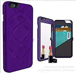 iPhone 6/6s Case-Auroralove Purple Card Slot Wallet Cover with Mirror Glass Design for Beauty Makeup PU Leather Case for iPhone 6/6s 4.7 Inch