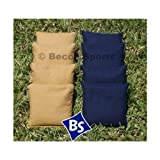 """8 Standard Corn-Filled Regulation 6""""x6"""" Duck Cloth Cornhole Bags (choose your colors) (Navy & Gold)"""