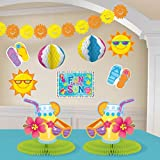 Amscan Sun-Sational Summer Luau Fun in The Sun Beach Decorating Kit (10 Piece), Multi Color, 15.5 x 10.6""