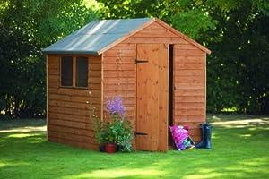 8' x 6' Abri de jardin en bois Porte simple - Toit Apex - Chevauchement de lames de bois - Garantie anti-rouille 10 ans