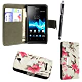 STYLEYOURMOBILE SONY XPERIA E C1505 PREMIUM QUALITY PU LEATHER MAGNETIC FLIP CASE SKIN COVER POUCH + SCREEN PROTECTOR + STYLUS (Pink Flower on White Book Flip)