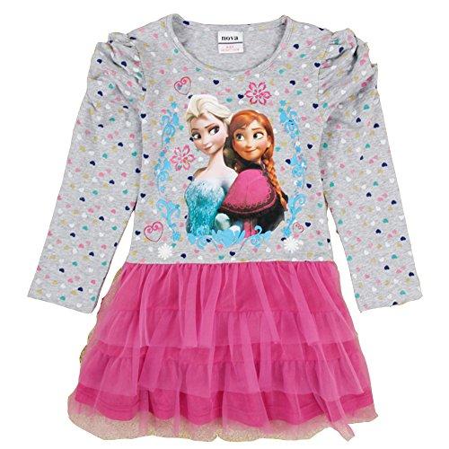 Kids Frozen Cake Skirt Girls Long-Sleeved Dress H5273#