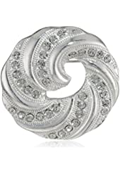 """Napier """"Giftable"""" Silver-Tone and Crystal Swirl Pin"""