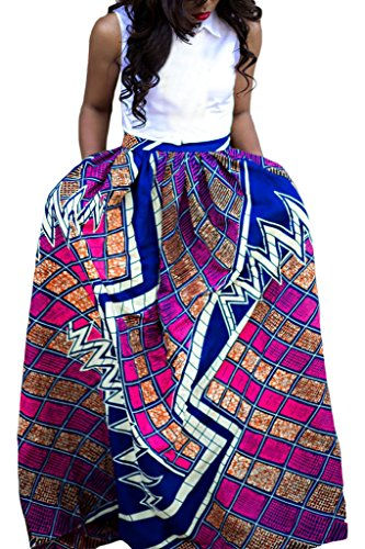 Annflat Women's African Print Casual A-Line Maxi Skirt Flared Skirt Multisize Medium Multi4 (African Head Wrap For Women compare prices)
