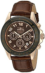 "Invicta Men's 10712 ""Speedway"" Gold Ion-Plated Stainless Steel Watch with Leather Band"
