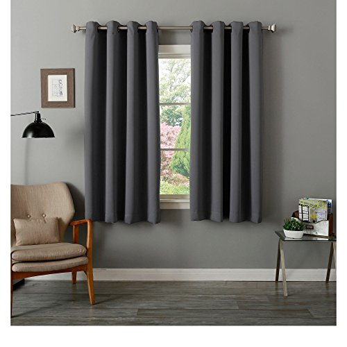 4 Piece Grommet Top Thermal Insulated Blackout 64-Inch Dark Grey Curtain Panel Pair, Contemporary Style, Energy Saving Design, Blackout Feature, Polyester Material, Solid Pattern, Charcoal, Sage Grey