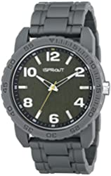 Sprout Men's ST/7007GNGY Green Tree Bark Dial Grey Corn Resin Bracelet Watch
