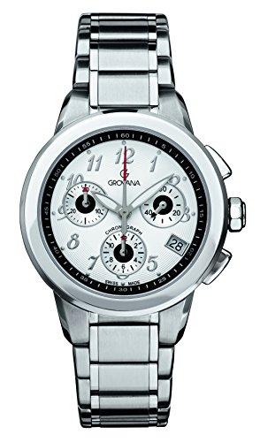 GROVANA 5094,9132 De cuarzo Swiss Unisex reloj infantil con mecanismo de esfera cronográfica y plateado correa de acero inoxidable de