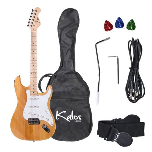 Kalos 1Eg-Nw 39-Inch Electric Guitar With Gig Bag , 3 Picks, Strap, Amp Cable, And Tremolo Arm - Full Size - Natural Wood
