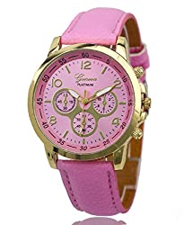 Geneva Platinum Analog Pink Dial Womens Watch - GP-202