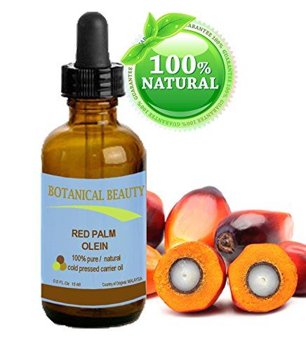 "RED PALM OIL 100% Pure / Natural / Undiluted Cold Pressed Carrier Oil. 0.15 fl.oz-15ml. For Face, Body, Hair, Lip and Nail Care. ""One the richest natural sources of vitamin A and E."" by Botanical Beauty"