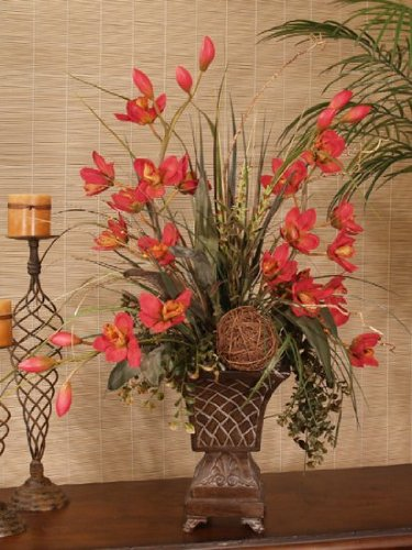 Red Cymbidium Silk Orchids & Grass Arrangement