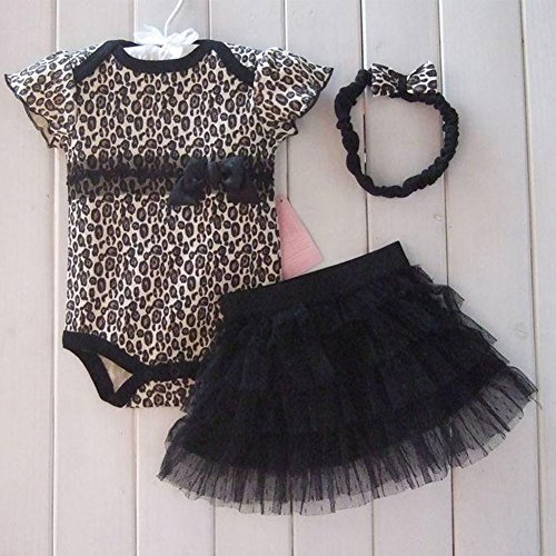 Lovely 3Pcs Outfits Set Girls Baby Newborn Pincess Short Skirt Romper Bodysuit + Tutu Skirt + Headband Leopard