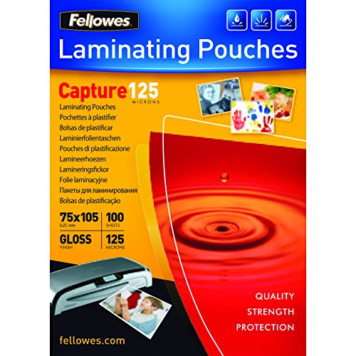 Fellowes 53069 Laminierfolien Capture 125 Mikron, 75 x 105 mm (100er Pack)