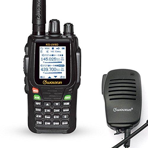 WouXun KG-UV8D Dual-Bande Talkie-Walkie Portable Two Way Radio Dual Band Radio *Noir* + Haut-Parleur Microphone